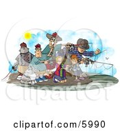 Family And Friends Fishing Together At A Lake Clipart Picture