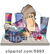 Woman Gift Wrapping Presents At A Shopping Center Clipart Picture