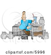 Gas Meter Repairman Sitting In His Shop Eating Lunch Clipart Picture by Dennis Cox