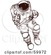 Royalty Free RF Clipart Illustration Of A Brown And White Astronaut Exploring In A Space Suit by xunantunich