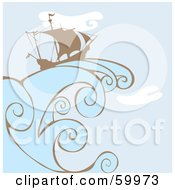 Royalty Free RF Clipart Illustration Of A Silhouetted Sailing Ship On A Giant Wave Over A Blue Sky