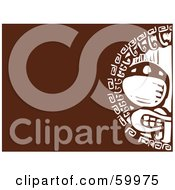 Royalty Free RF Clipart Illustration Of A White Tribal Shield Carving With A Face On Brown by xunantunich