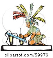 Royalty Free RF Clipart Illustration Of A Mayan Artist Creating Architectual Drawings by xunantunich