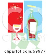 Royalty Free RF Clipart Illustration Of A Glass Of Red Wine By A Bottle On A Green Checkered Counter