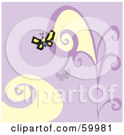 Yellow Butterfly On A Purple Floral Background