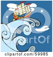 Royalty Free RF Clipart Illustration Of A Chinese Junk Ship On A Giant Wave Against A Night Sky