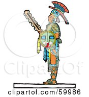 Royalty Free RF Clipart Illustration Of A Mayan Warrior Standing With A Shield And Sword by xunantunich