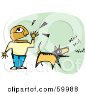 Royalty Free RF Clipart Illustration Of A Hispanic Boy Shouting And His Dog Barking by xunantunich