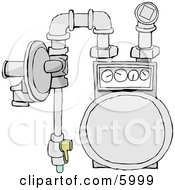 Residential Natural Gas Meter Of The Usual Diaphragm Style