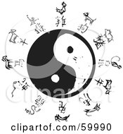 Royalty Free RF Clipart Illustration Of Black And White Carved Chinese Zodiac Symbols Around A Yin Yang