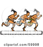 Royalty Free RF Clipart Illustration Of Three Mayan Men Running Over A White Text Box by xunantunich