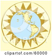 Royalty Free RF Clipart Illustration Of A Retro Planet Earth In Front Of A Yellow Sun