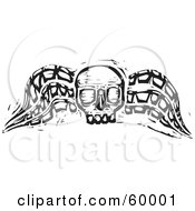 Black And White Wood Carved Textured Winged Skull
