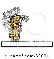 Mayan Chief Standing With A Spear