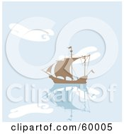 Royalty Free RF Clipart Illustration Of A Silhouetted Brown Ship On Still Blue Water With Cloud Reflections