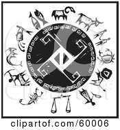 Royalty Free RF Clipart Illustration Of A Black And White Wheel Of The Zodiac With A Shield