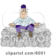 Overworked Repairman Sitting On A Pile Of Broken Gas Meters Clipart Picture