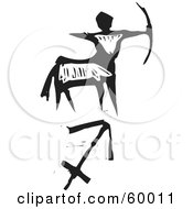 Royalty Free RF Clipart Illustration Of A Black And White Carved Sagittarius And Zodiac Symbol