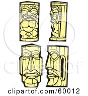Royalty Free RF Clipart Illustration Of A Digital Collage Of Four Yellow Tiki Carvings by xunantunich