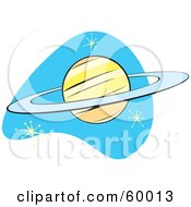 Royalty Free RF Clipart Illustration Of A Retro Planet Saturn On Blue With Stars by xunantunich