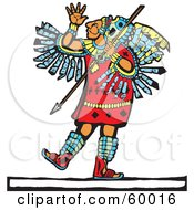 Royalty Free RF Clipart Illustration Of A Mayan Warrior Standing Witha Spear