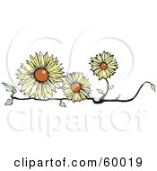 Royalty Free RF Clipart Illustration Of Three Yellow Flowers On A Branch