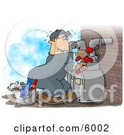 Male Worker Resetting A Residential Gas Meter Clipart Picture