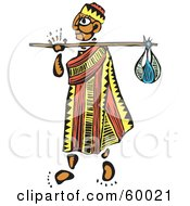 Royalty Free RF Clipart Illustration Of A Tribal Man Wanderer Carrying A Sack On A Stick by xunantunich