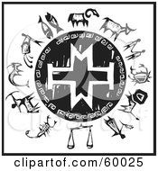 Royalty Free RF Clipart Illustration Of A Black And White Wheel Of The Zodiac With A Cross Shield