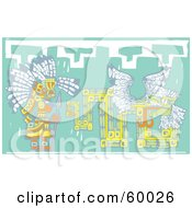 Royalty Free RF Clipart Illustration Of A Mayan Chief By A Green Mural