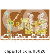 Royalty Free RF Clipart Illustration Of A Mayan Warrior With A Shield And Sword Standing By A Brown Mural