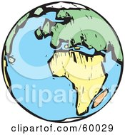Royalty Free RF Clipart Illustration Of A Wood Styled Earth Featuring Africa