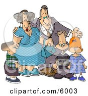 Grandparents Standing With Their Grandchildren Clipart Picture