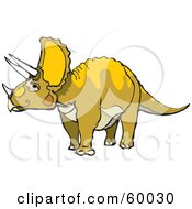 Royalty Free RF Clipart Illustration Of A Green And Yellow Triceratops Dinosaur by xunantunich