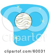 Royalty Free RF Clipart Illustration Of A Retro Planet Venus On Blue With Stars by xunantunich