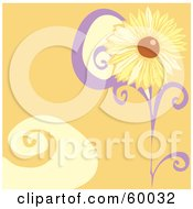 Royalty Free RF Clipart Illustration Of A Yellow Daisy Flower On An Orange Swirl Background