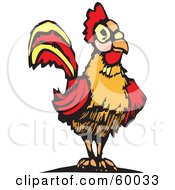 Royalty Free RF Clipart Illustration Of A Red And Orange Cock Bird by xunantunich