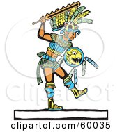Mayan Warrior Walking With A Shield And Sword