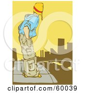 Royalty Free RF Clipart Illustration Of A Teenager In Baggy Clothes Standing On A Sidewalk And Preparing To Cross A Street
