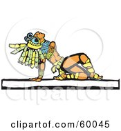 Royalty Free RF Clipart Illustration Of A Mayan Warrior Leaning Back And Looking Upwards
