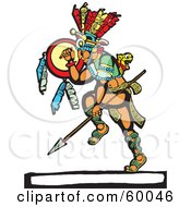 Royalty Free RF Clipart Illustration Of A Dancing Mayan Warrior With A Shield And Spear by xunantunich