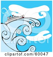 Royalty Free RF Clipart Illustration Of A Cruise Ship On A Giant Wave In Front Of A Blue Sky