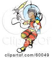 Royalty Free RF Clipart Illustration Of A Hispanic Space Boy Floating Out On A Line by xunantunich