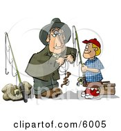 Grandpa Baiting Grandsons Fishing Hook Clipart Picture