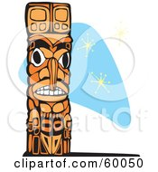 Royalty Free RF Clipart Illustration Of A Carved Wooden Totem Pole On A Blue Retro Star Background