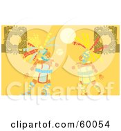 Royalty Free RF Clipart Illustration Of Two Mayan Men Playing A Ball Game by xunantunich