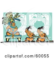 Royalty Free RF Clipart Illustration Of Slaves Sitting Before A Mayan King by xunantunich
