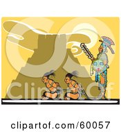 Royalty Free RF Clipart Illustration Of A Mayan Guard Watching Over Two Mayan Prisoners by xunantunich