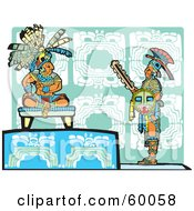Royalty Free RF Clipart Illustration Of A Warrior Standing Before A Mayan King by xunantunich