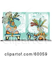 Royalty Free RF Clipart Illustration Of An Artist Kneeling Before A Mayan King